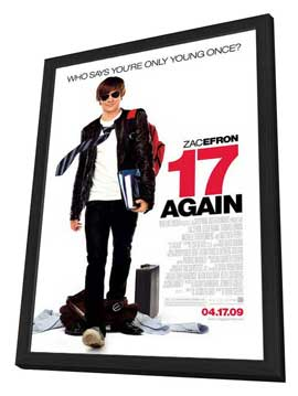 17 Again - 11 x 17 Movie Poster - Style A - in Deluxe Wood Frame