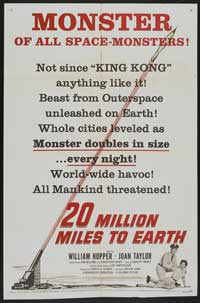 20 Million Miles to Earth - 27 x 40 Movie Poster - Style C
