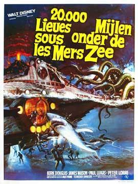 20,000 Leagues Under the Sea - 11 x 17 Movie Poster - Belgian Style B