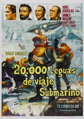 20,000 Leagues Under the Sea - 27 x 40 Movie Poster - Spanish Style A