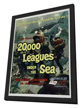 20,000 Leagues Under the Sea - 11 x 17 Movie Poster - Style B - in Deluxe Wood Frame