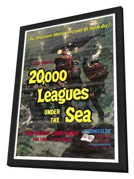 20,000 Leagues Under the Sea - 27 x 40 Movie Poster - Style A - in Deluxe Wood Frame