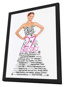 27 Dresses - 27 x 40 Movie Poster - Style A - in Deluxe Wood Frame