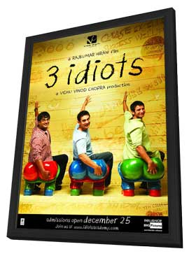 3 Idiots - 11 x 17 Movie Poster - Indian Style B - in Deluxe Wood Frame