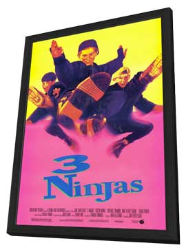 3 Ninjas - 27 x 40 Movie Poster - Style D - in Deluxe Wood Frame