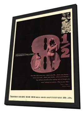 8 1/2 - 27 x 40 Movie Poster - Style B - in Deluxe Wood Frame