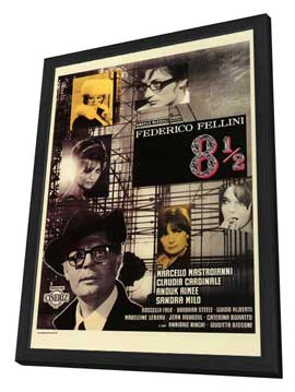 8 1/2 - 27 x 40 Movie Poster - Italian Style A - in Deluxe Wood Frame