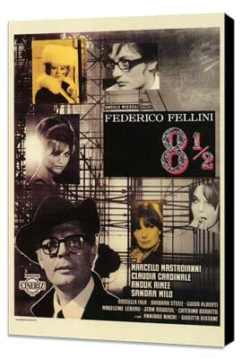 8 1/2 - 27 x 40 Movie Poster - Italian Style A - Museum Wrapped Canvas