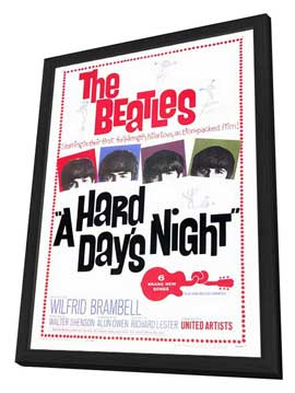 A Hard Day's Night - 27 x 40 Movie Poster - Style A - in Deluxe Wood Frame