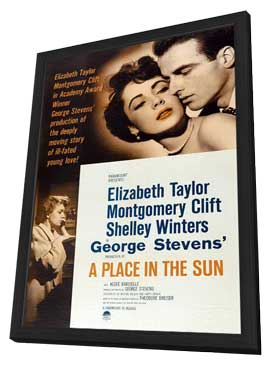A Place in the Sun - 27 x 40 Movie Poster - Style A - in Deluxe Wood Frame