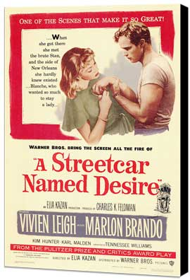 A Streetcar Named Desire - 27 x 40 Movie Poster - Style A - Museum Wrapped Canvas