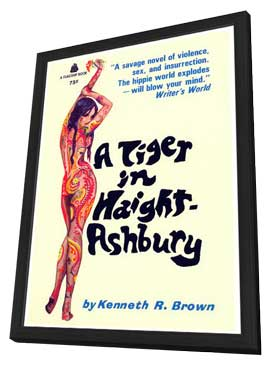 A Tiger in Haight-Ashbury - 11 x 17 Retro Book Cover Poster - in Deluxe Wood Frame