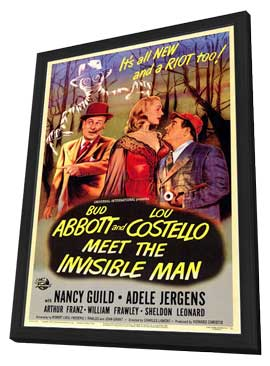 Abbott and Costello Meet the Invisible Man - 11 x 17 Movie Poster - Style A - in Deluxe Wood Frame