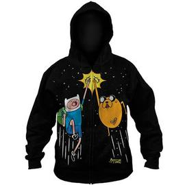 Adventure Time (TV) - Space Fist Bump Black Zip-Up Hoodie