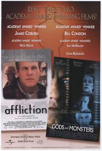 Affliction/Gods and Monsters video poster - 27 x 40 Movie Poster - Style A