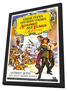 Against All Flags - 11 x 17 Movie Poster - Style A - in Deluxe Wood Frame