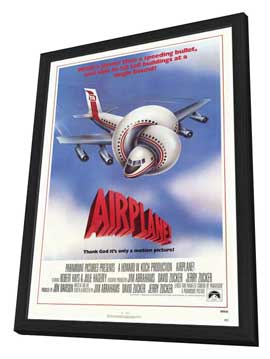 Airplane! - 27 x 40 Movie Poster - Style A - in Deluxe Wood Frame