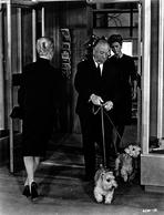 Alfred Hitchcock - Hitchcock Alfred with Dog in Black and White