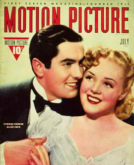 Alice Faye - 11 x 17 Motion Picture Magazine Cover 1930's Style A