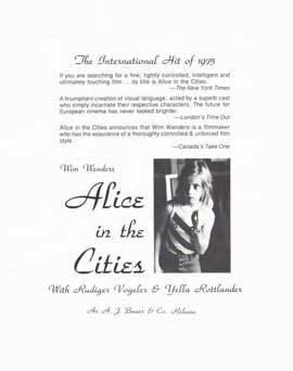 Alice in the Cities - 11 x 17 Movie Poster - Style A