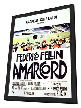 Amarcord - 11 x 17 Movie Poster - Style E - in Deluxe Wood Frame
