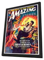 Amazing Stories (Pulp) - 11 x 17 Retro Book Cover Poster - in Deluxe Wood Frame