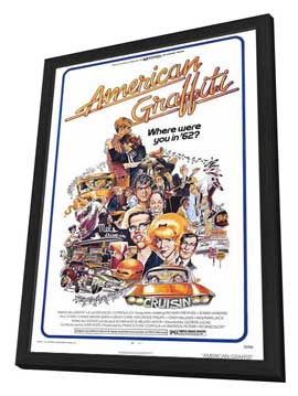 American Graffiti - 27 x 40 Movie Poster - Style A - in Deluxe Wood Frame