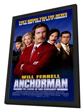 Anchorman: The Legend of Ron Burgundy - 27 x 40 Movie Poster - Style C - in Deluxe Wood Frame