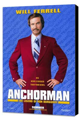 Anchorman: The Legend of Ron Burgundy - 11 x 17 Movie Poster - Style A - Museum Wrapped Canvas