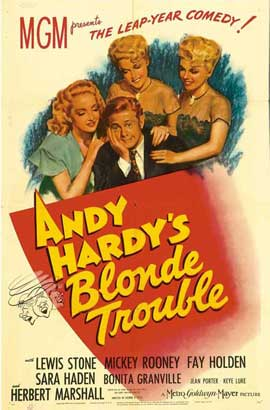 Andy Hardy's Blonde Trouble - 27 x 40 Movie Poster - Style A