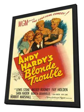 Andy Hardy's Blonde Trouble - 11 x 17 Movie Poster - Style A - in Deluxe Wood Frame