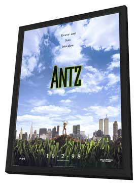 Antz - 11 x 17 Movie Poster - Style A - in Deluxe Wood Frame