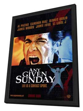 Any Given Sunday - 27 x 40 Movie Poster - Style B - in Deluxe Wood Frame