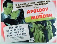 Apology for Murder - 11 x 14 Movie Poster - Style A