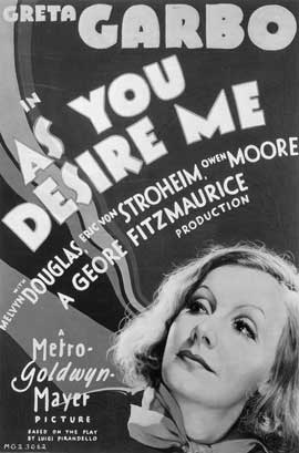 As You Desire Me - 11 x 17 Movie Poster - Style B