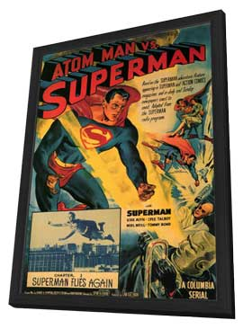 Atom Man vs. Superman - 11 x 17 Movie Poster - Style F - in Deluxe Wood Frame