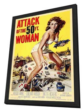 Attack of the 50 Foot Woman - 11 x 17 Movie Poster - Style A - in Deluxe Wood Frame