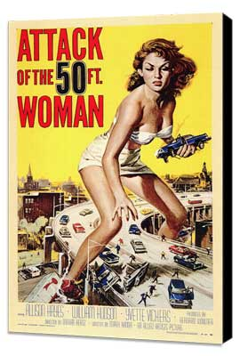 Attack of the 50 Foot Woman - 27 x 40 Movie Poster - Style A - Museum Wrapped Canvas