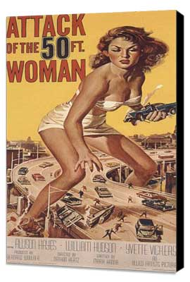 Attack of the 50 Foot Woman - 14 x 36 Movie Poster - Insert Style B - Museum Wrapped Canvas