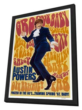 Austin Powers: International Man of Mystery - 27 x 40 Movie Poster - Style B - in Deluxe Wood Frame