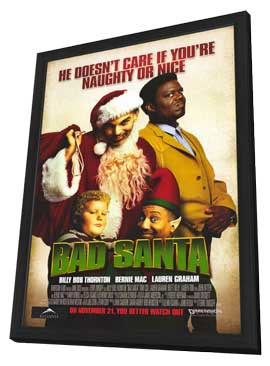 Bad Santa - 11 x 17 Movie Poster - Style A - in Deluxe Wood Frame