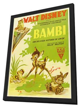 Bambi - 11 x 17 Movie Poster - Argentine Style A - in Deluxe Wood Frame