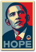 Barack Obama - RARE Campaign Poster - 11 x 17 Poster - HOPE