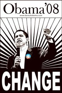 Barack Obama - (Change, Black and White) Campaign Poster - 24 x 36