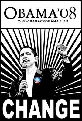 Barack Obama - (Change, Black and White) Campaign Poster 11 x 17