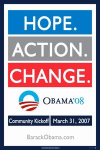 Barack Obama - (Hope, Action, Change) Campaign Poster - 24 x 36