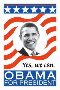 Barack Obama - (Flag) Campaign Poster - 24 x 36