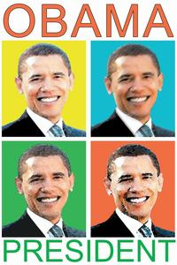 Barack Obama - (4 Faces) Campaign Poster - 24 x 36