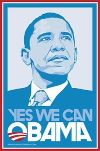 Barack Obama - (Blue, Yes We Can) Campaign Poster - 24 x 36