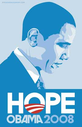 Barack Obama - (Profile, Blue) Campaign Poster 11 x 17